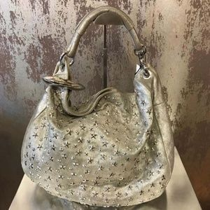 Jimmy Choo Solar Star Silver Studded Leather Hobo